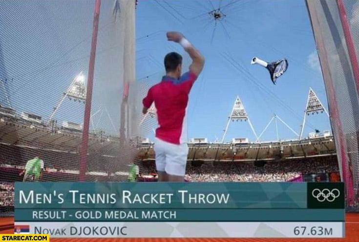 Novak Djokovic mens tennis racket throw gold medal olympic games