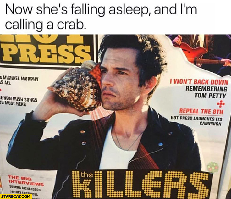 Now she's falling asleep and I'm calling a crab The Killers magazine cover