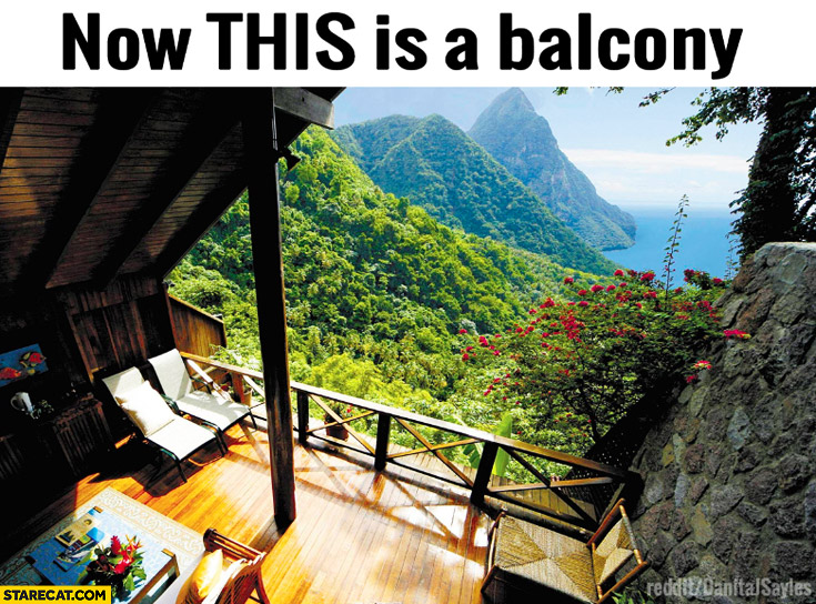 Now this is a balcony green mountains beautiful view sea