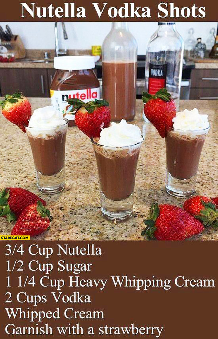 Nutella vodka shots recipe