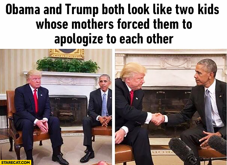 Obama and Trump both look like two kids whose mothers forced them to apologize to each other