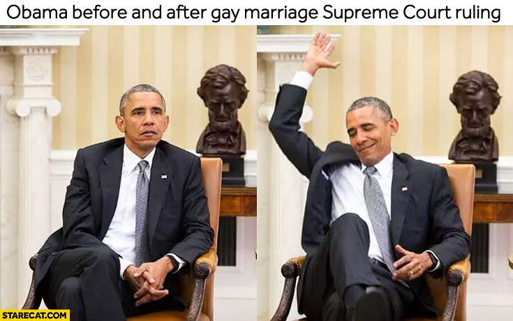 Obama before and after gay marriage supreme court ruling
