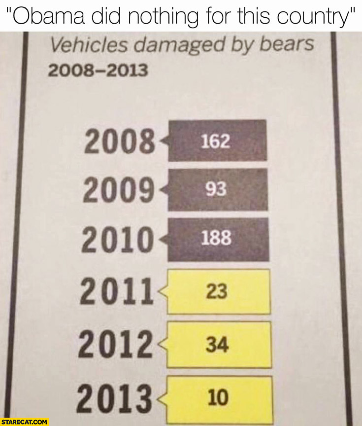 Obama did nothing for this country: vehicles damaged by bears 2008-2013