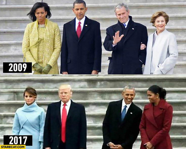 Obama inauguration compared to Trump inauguration 2009 2017 old presidents happy