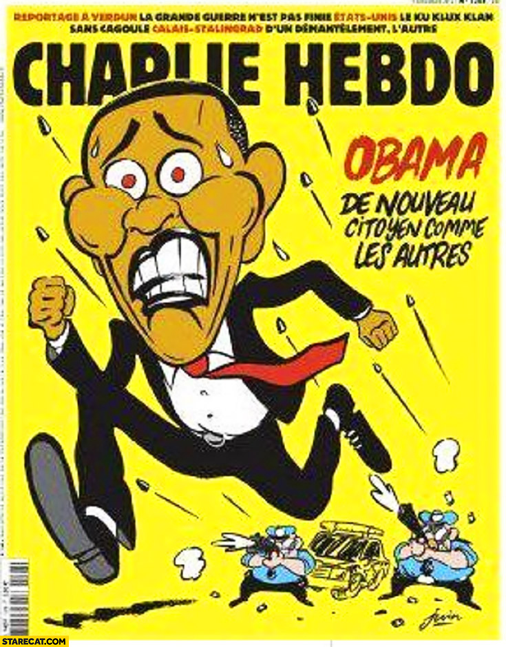 Obama now like a normal citizen police shooting at a black man Obama running away Charlie Hebdo cover