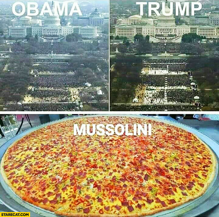 Obama Trump Mussolini pizza inauguration ceremony comparison
