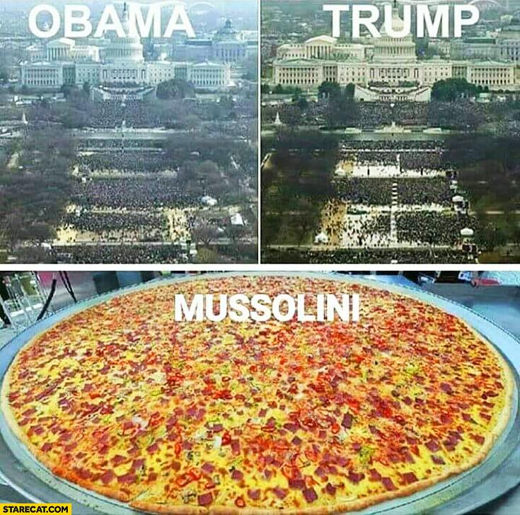 Obama Trump Mussolini pizza inauguration ceremony comparison