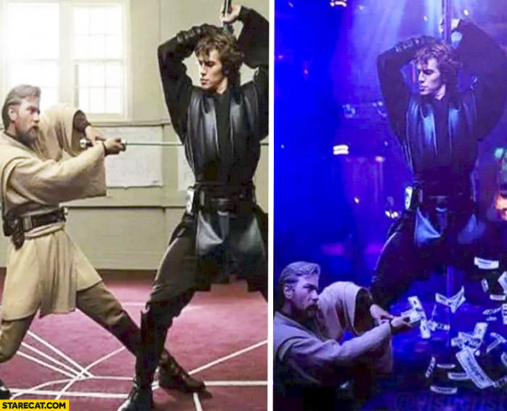 Obi-Wan Kenobi and Anakin practice looking like night club dance throwing money