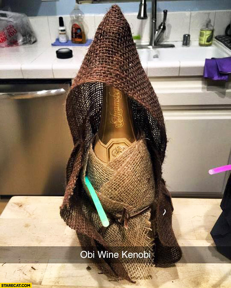 Obi Wine Kenobi bottle of wine