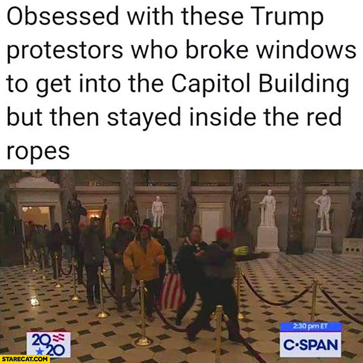 Obsessed with these Trump protestors who broke windows to get into the capitol building but then stayed inside the red ropes