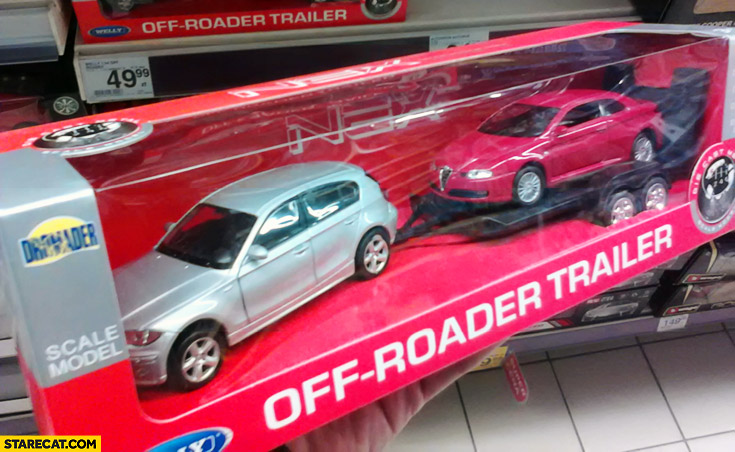 Off-road trailer toy broken Alfa-Romeo on a car-carrier fail