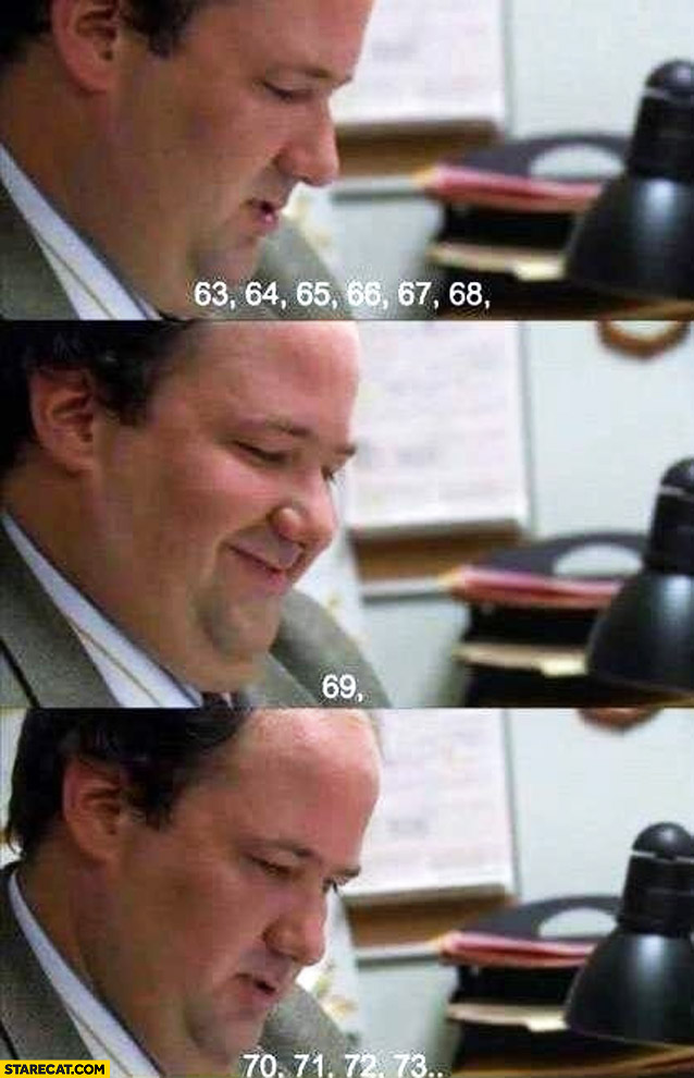 Office Kevin counting 69 smile
