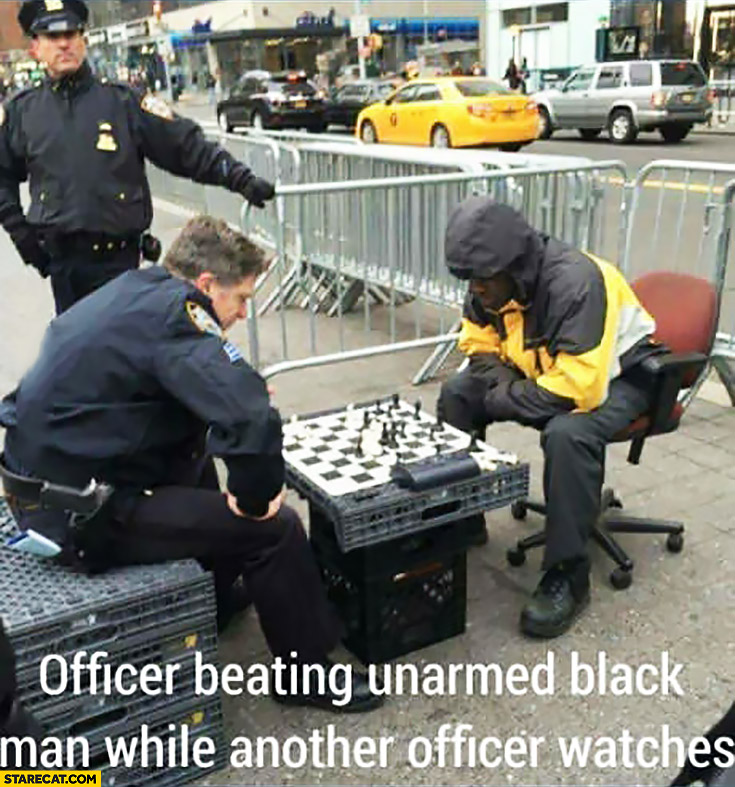 Officer beating unarmed black man while another offices watches chess game