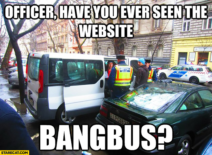 Officer have you ever seen the website bangbus? Police controlling a bus