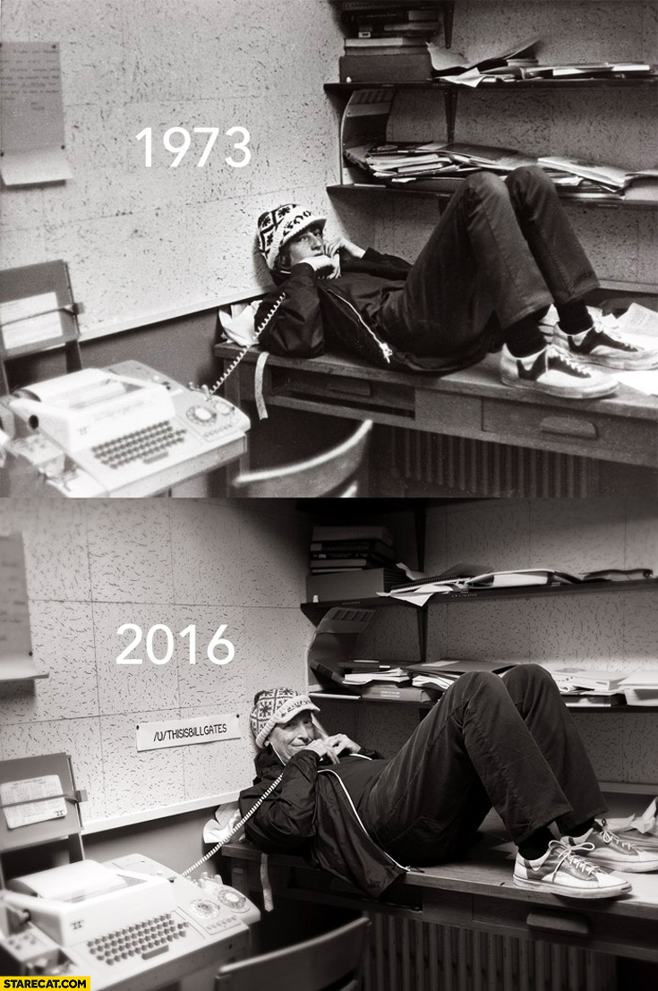 Old Bill Gates photo recreated after 43 years 1973 vs 2016