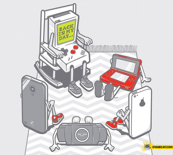 Old consoles GameBoy telling a story