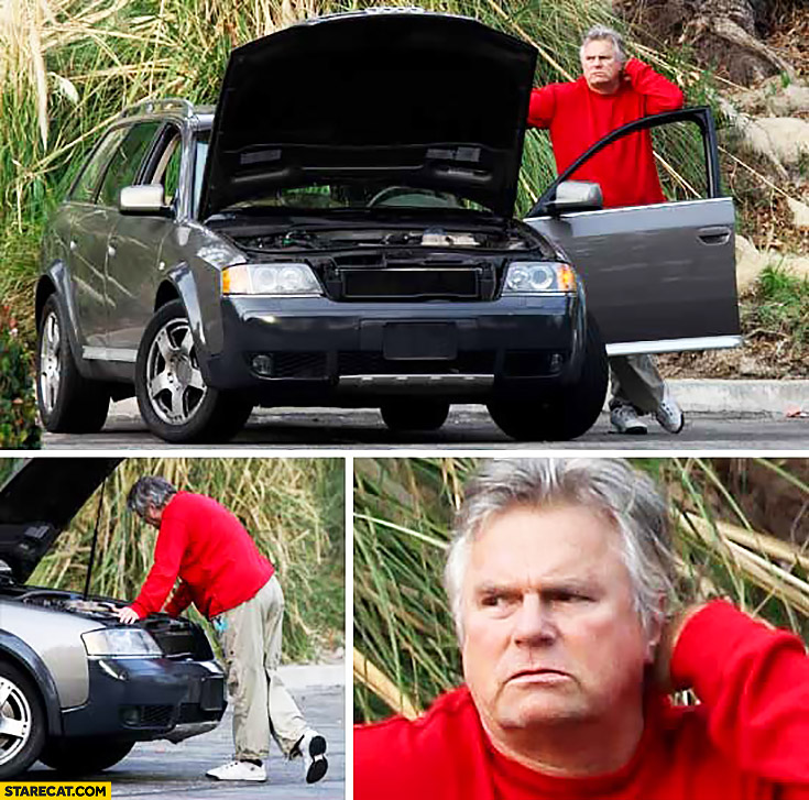 Old MacGyver broken car doesn't know what to do