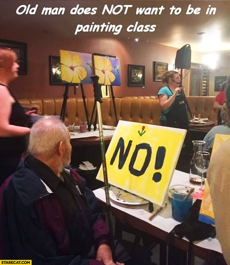 Old man does not want to be in painting class