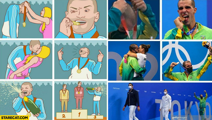 Olympics 3rd place meme recreated in real life tokyo 2020 olympic games