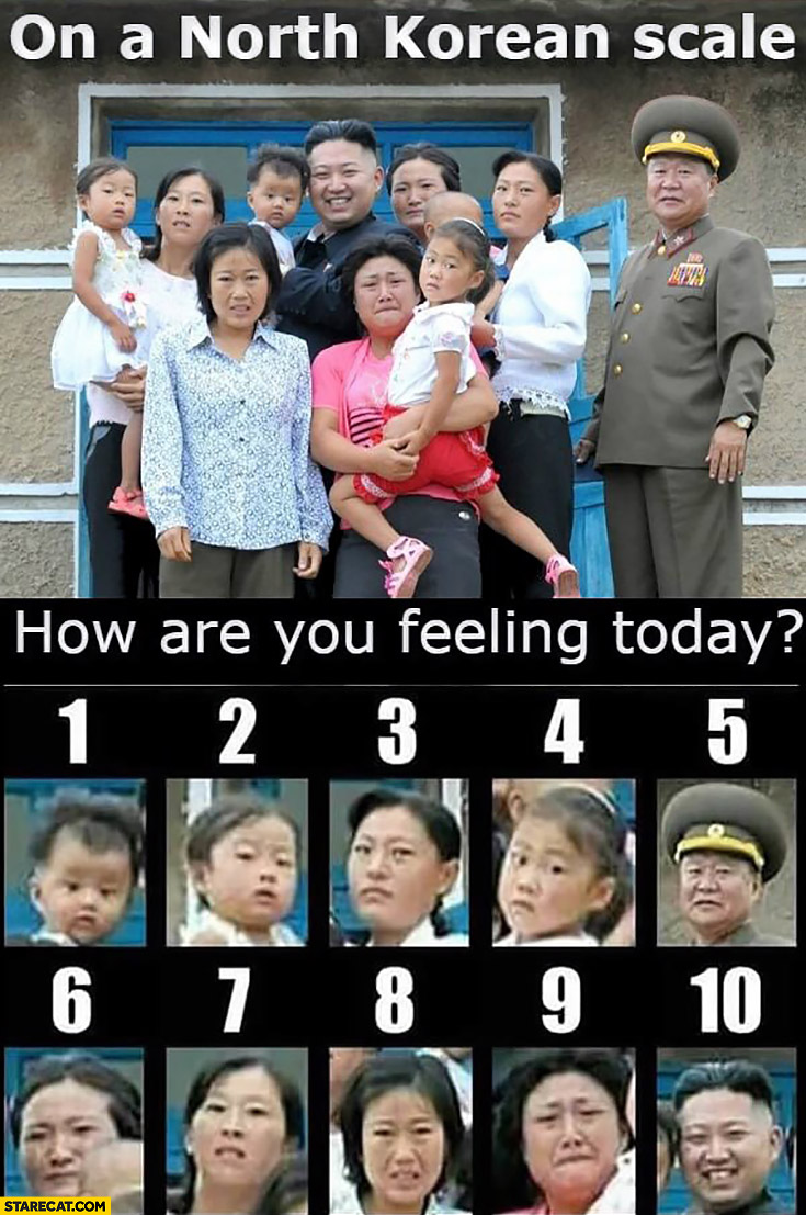 On a North Korean scale how are you feeling today from 0 to 10? Kim Jong Un with a family