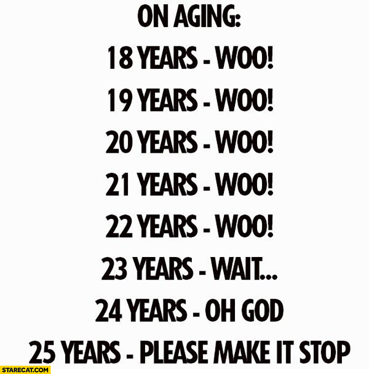 On aging: up to 22 years – woo! 23 years – wait… 24 years – oh God. 25 years – please make it stop