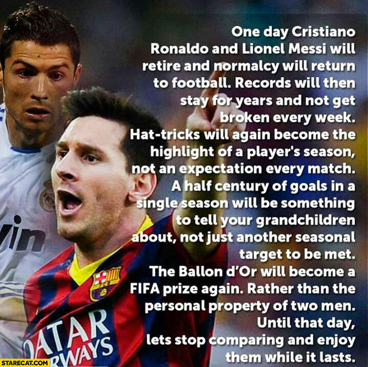 a comparison between football stars ronaldo and messi Cristiano ronaldo and lionel messi rivalry is best in football history — with difference between real madrid and barcelona stars even showing in pre-match team photos.