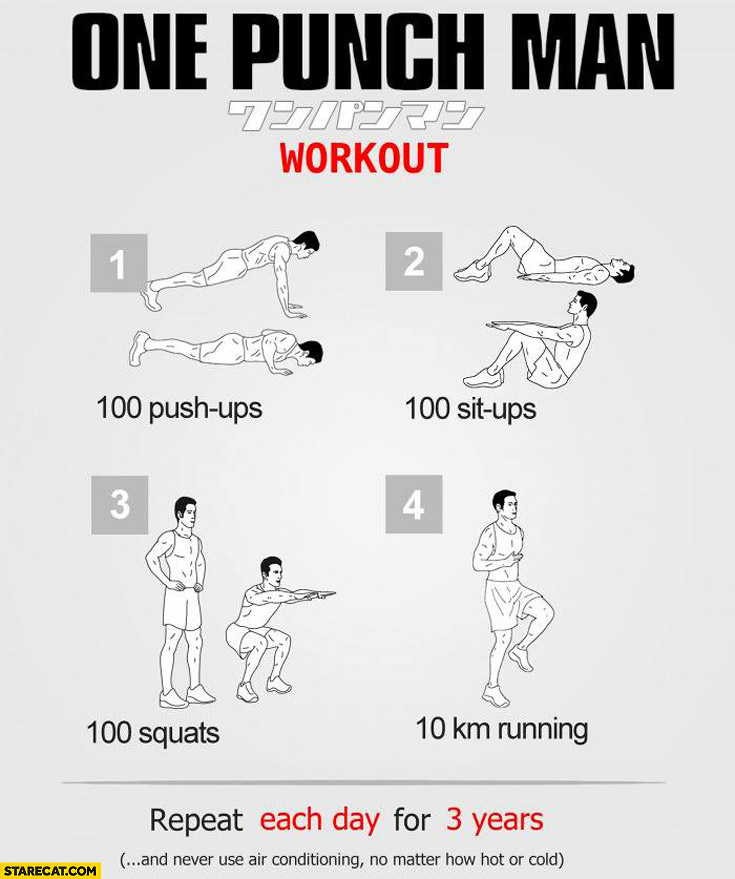 One punch man workout: 100 push-ups, 100 sit-ups, 100 squats, 10km running