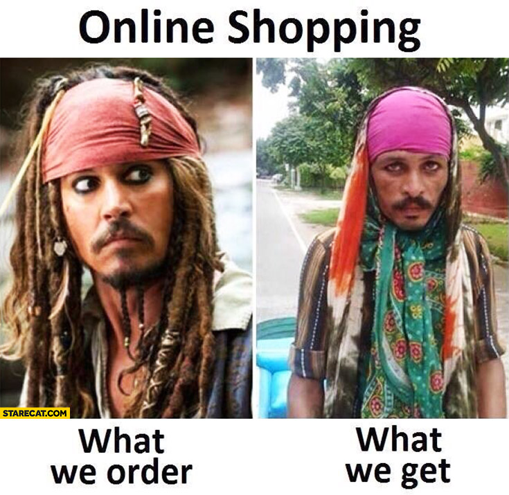 Online shopping: what we order vs what we get. Captain Jack Sparrow cosplay Johnny Depp