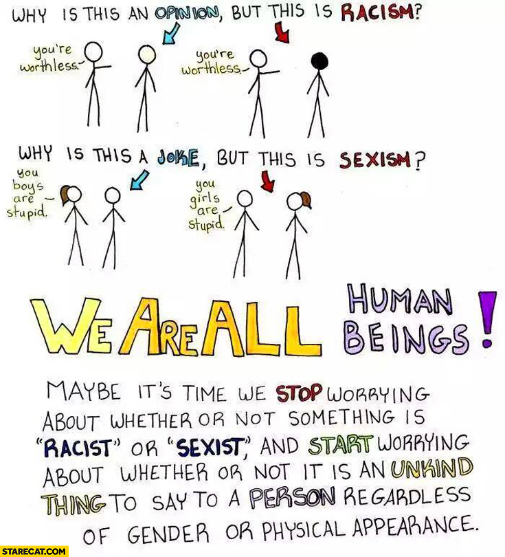 Opinions vs racism joke vs sexism we are all human beings