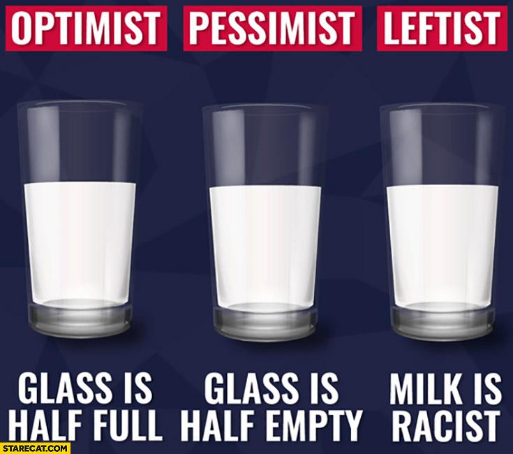 Optimist glass is half full, pessimist glass is half empty, leftist milk is racist