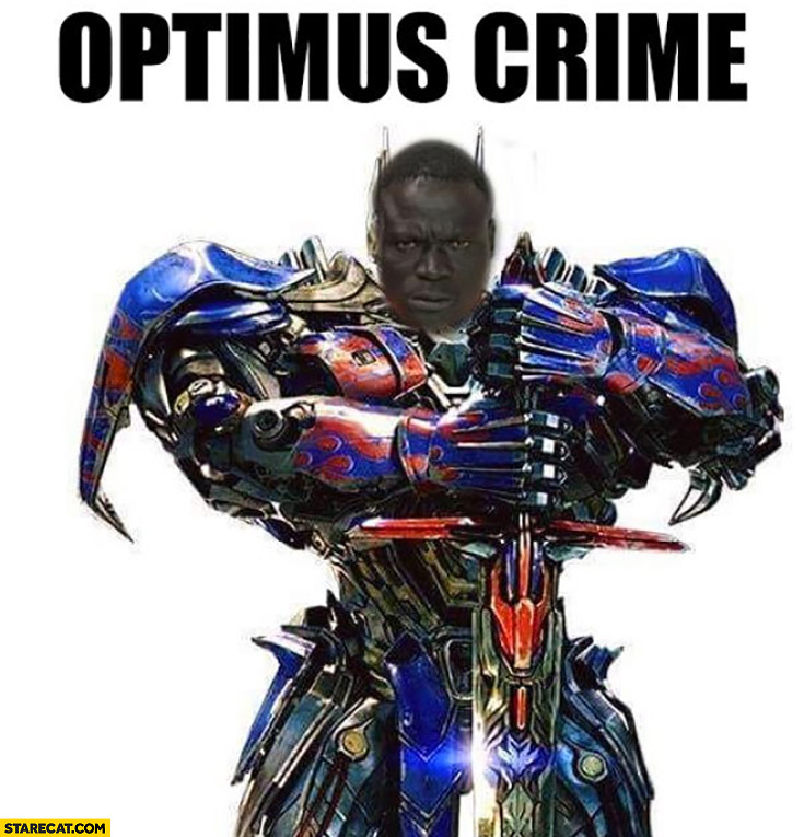 Optimus crime black man photoshopped