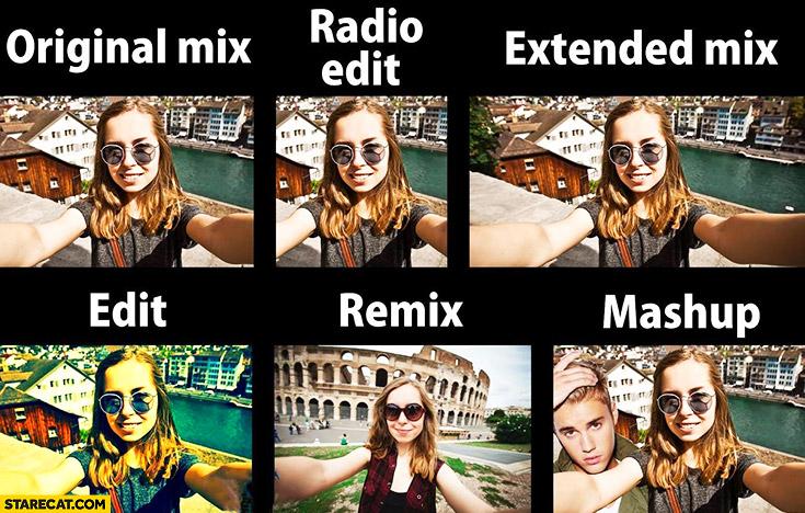 Original mix, radio edit, extended mix, edit, remix, mashup. Music explained