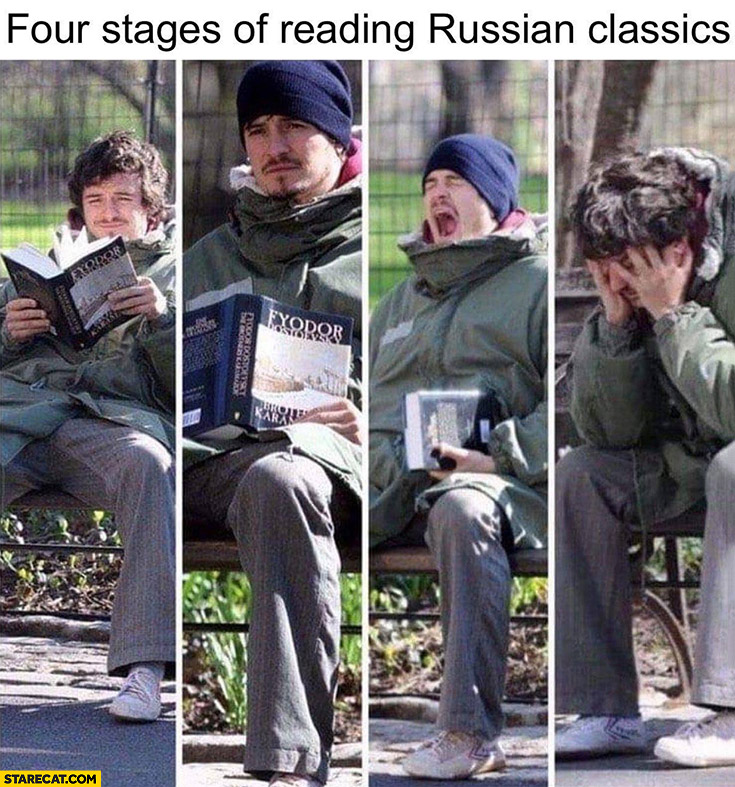 Orlando Bloom four stages of reading Russian classics Fyodor Dostoyevsky