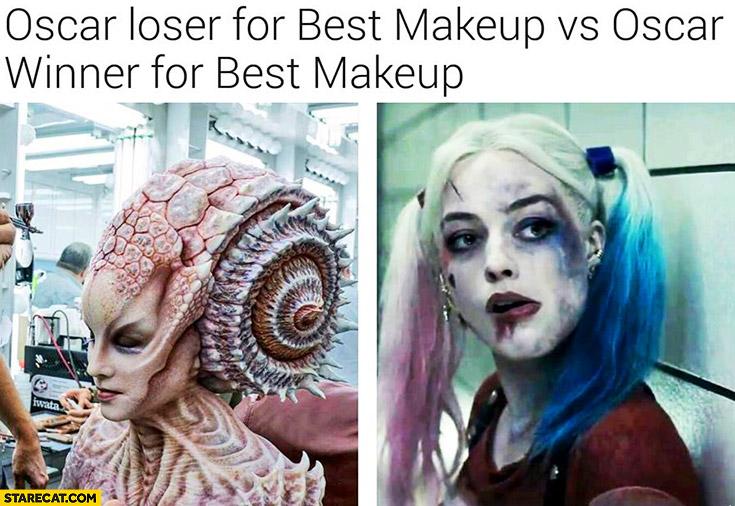 Oscar loser for best makeup vs Oscar winner for best makeup Suicide Squad