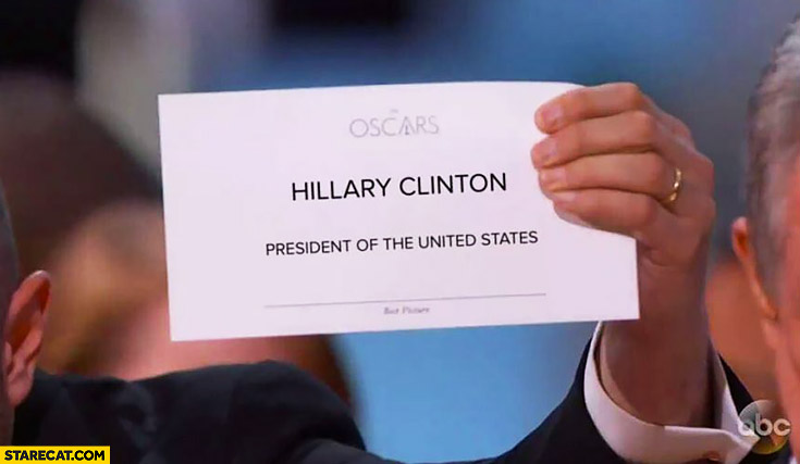 Oscars card Hillary Clinton president of the United States mistake trolling