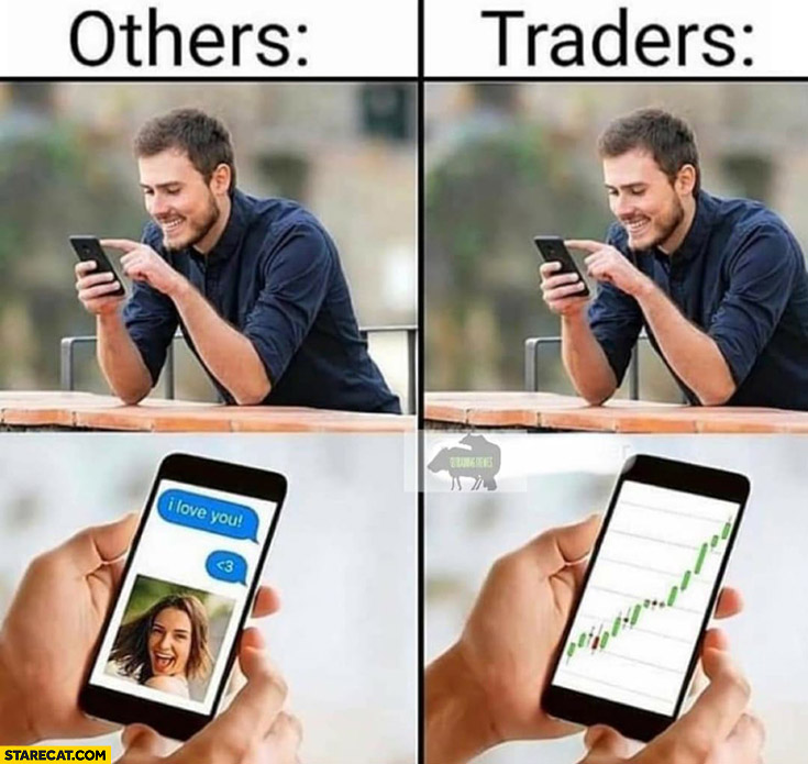Others on the phone with significant others vs traders just watching charts  graph | StareCat.com