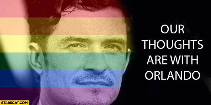 Our thoughts are with Orlando Bloom rainbow colours Orlando shootings