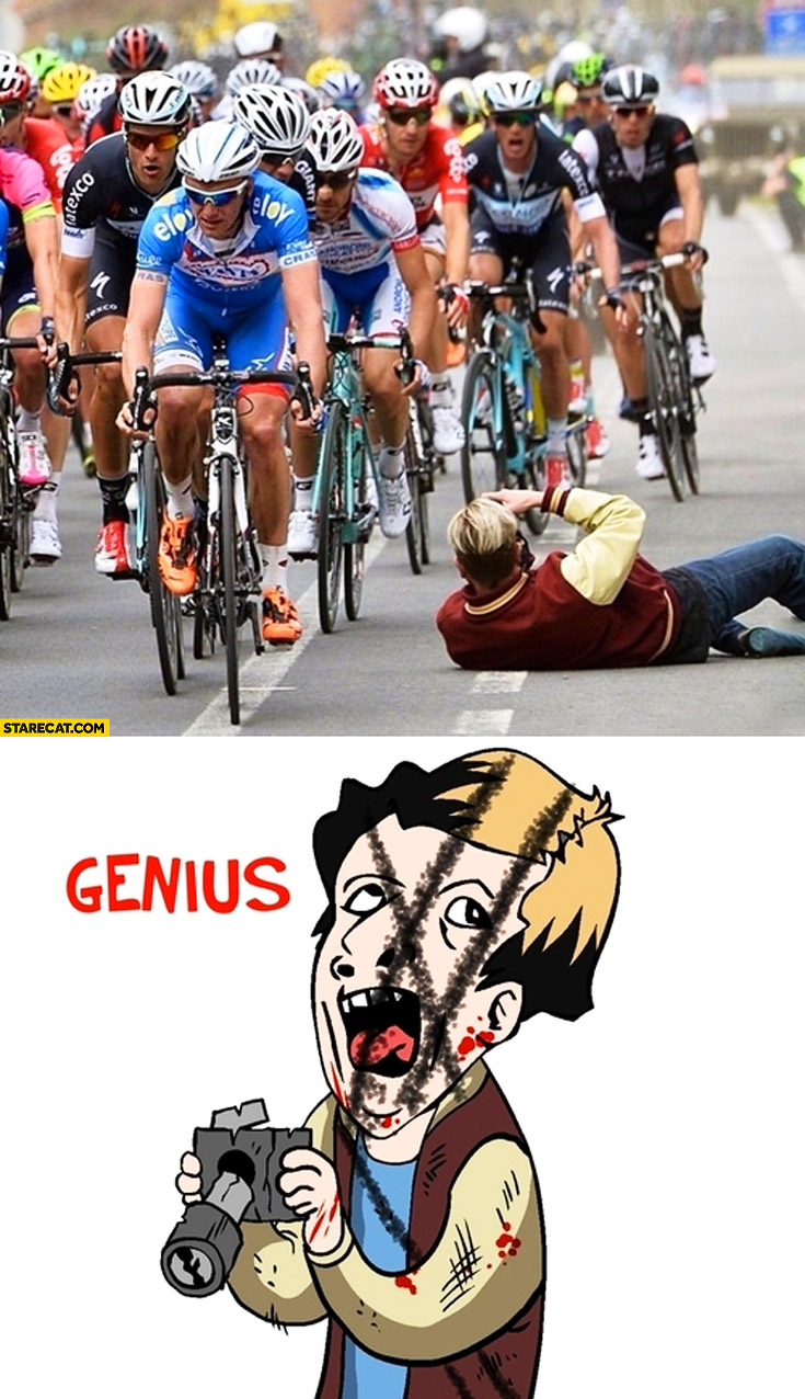 Overly attached photographer cyclists bicycle race fail
