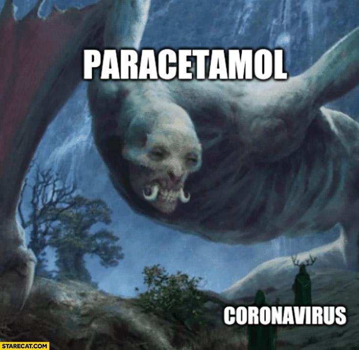 Paracetamol vs coronavirus creepy monster painting