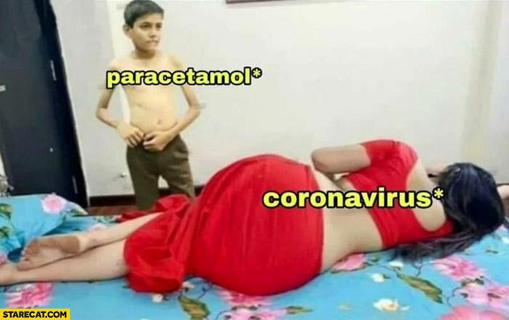 Paracetamol vs coronavirus kid taking his pants off adult scene movie woman in red dress on bed