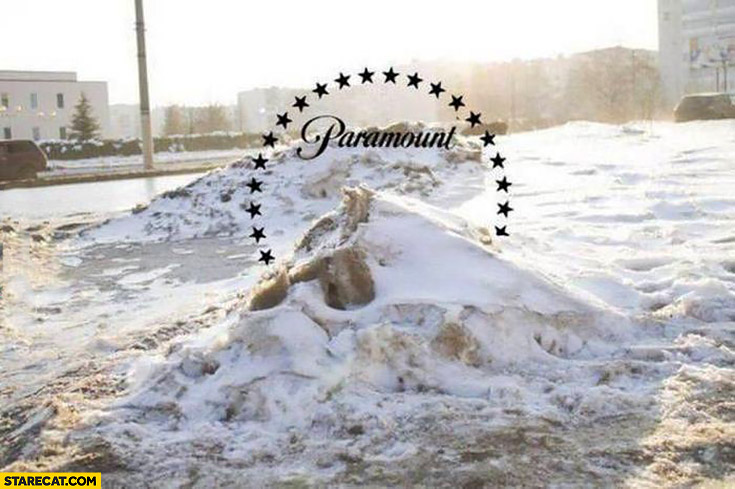 Paramount pictures logo mountain on a small snowy mountain