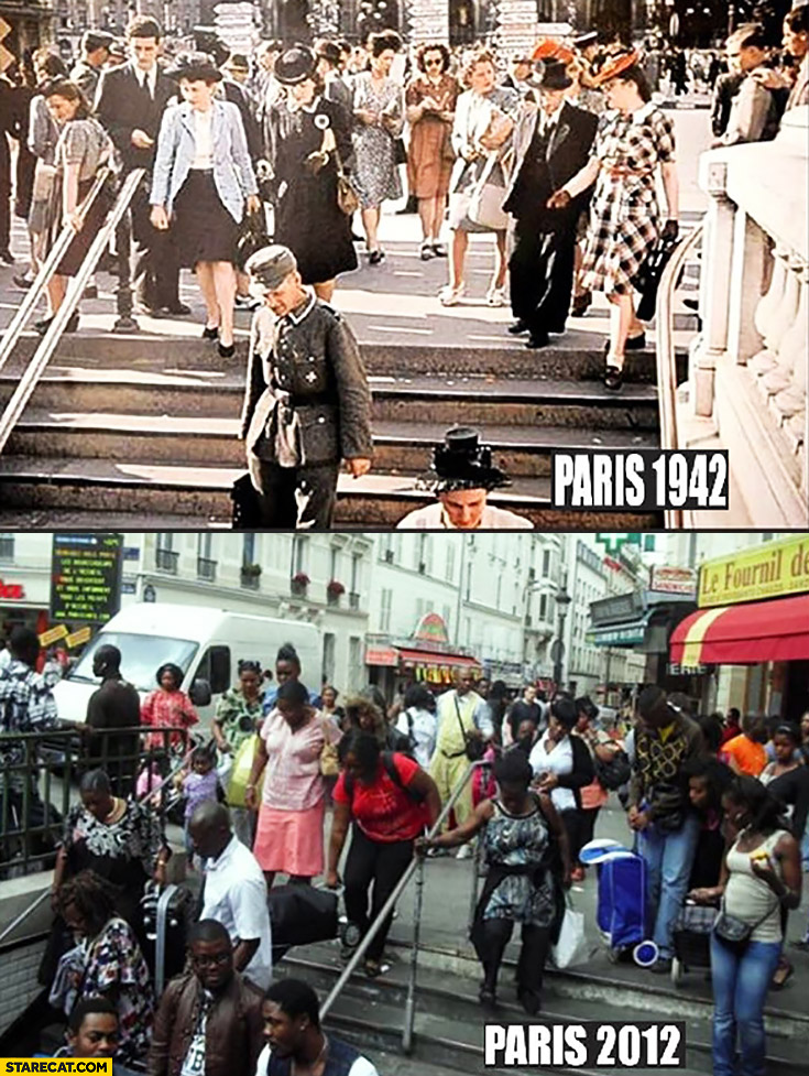 Paris 1942 vs Paris 2012 comparison white people black people only