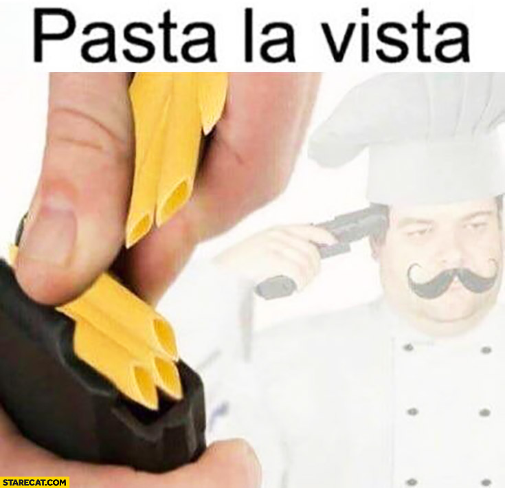 Pasta la vista Italian commiting suicide with pasta bullets