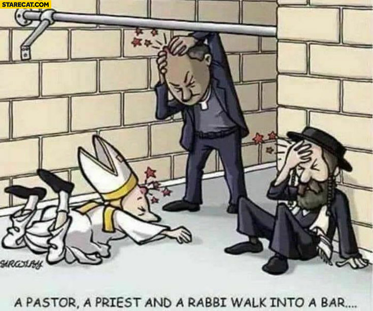 Pastor, priest and rabbi walk into a bar literally metal pipe
