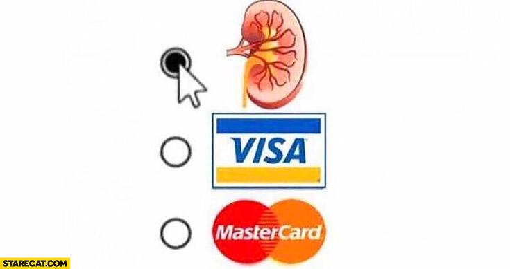 Payment options Visa, Mastercard, kidney