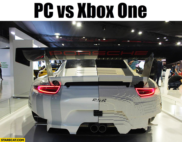 PC vs xBox One graphics comparison LEGO Porsche RSR trolling