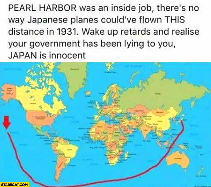 Pearl Harbor was an inside job, there no way Japanese planes could've flown this distance in 1931. Wake up retards and realise your government has been lying to you. Japan is innocent