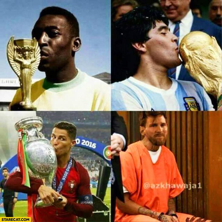 Pele, Maradona, Ronaldo kissing cup while Messi in jail
