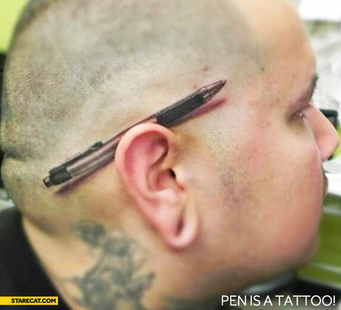 Pen behind ear tattoo