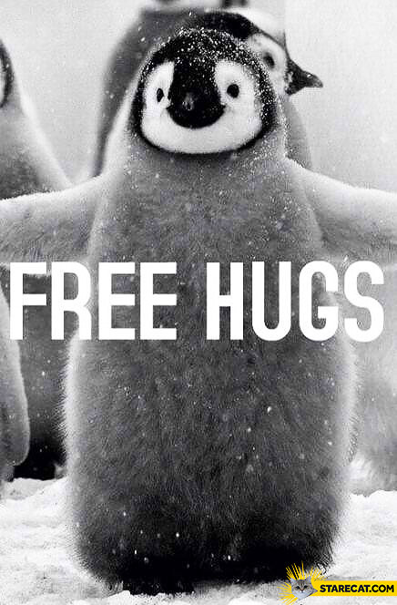 Penguin free hugs
